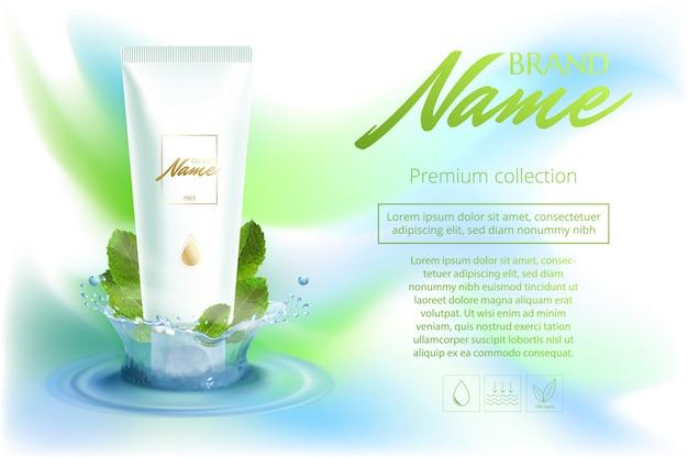 Cartel publicitario de cosméticos, champú, loción, gel de ducha con extracto o sabor a menta.