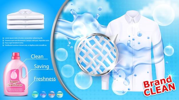 Cartel publicitario de detergente para ropa