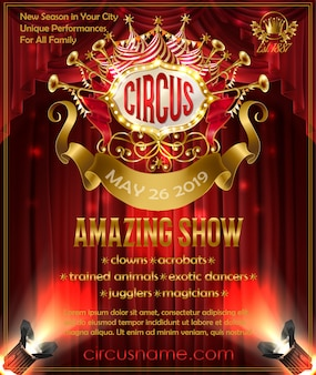 Cartel publicitario para espectáculo de circo increíble, invitación a circo performance.