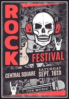 Cartel publicitario del festival de música rock vintage