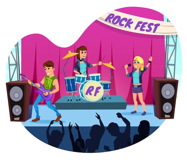 Cartel publicitario gente divirtiéndose en el rock fest.