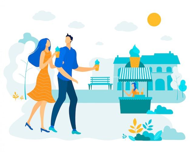 Cartel publicitario ice cream couple in love flat,