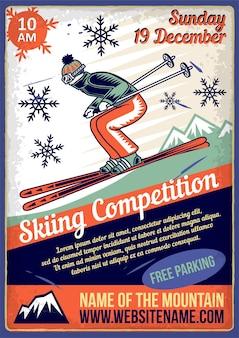 Cartel publicitario con ilustración de un esquiador