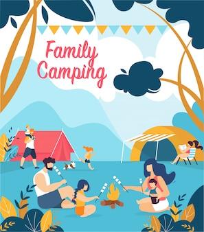 Cartel publicitario inscripción familia camping