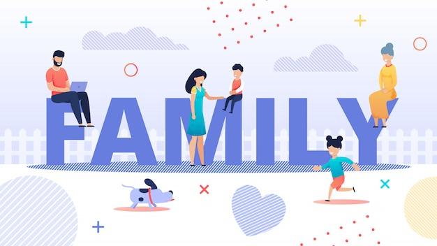 Cartel publicitario inscripción familia, dibujos animados.
