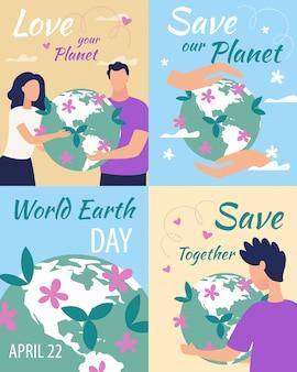 Cartel publicitario inscripción love your planet.