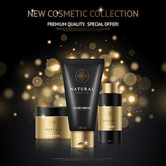 Cartel publicitario de marca cosmética con colección de productos de belleza y empaque con manchas doradas.