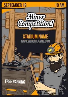 Cartel publicitario con minero y una mina.