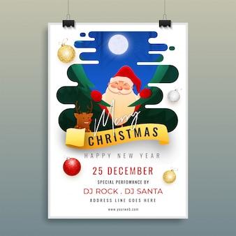 Cartel publicitario o volante con santa claus, renos y detalles del evento para la celebración de la feliz navidad.