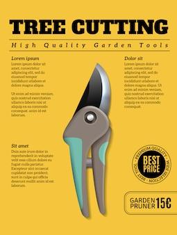 Cartel publicitario realista de herramientas de jardín de alta calidad con planta de arbusto de árbol podadoras de arbustos cortadores de tijeras de podar