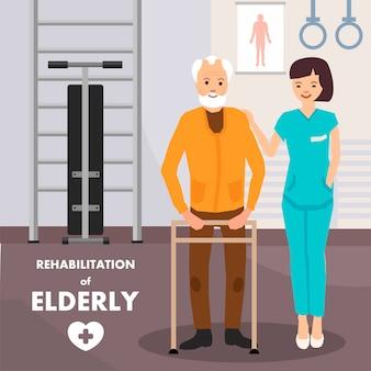 Cartel publicitario de rehabilitación para personas mayores