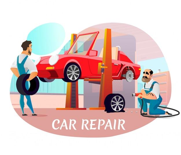 Cartel publicitario de reparación de automóviles modernos con equipo profesional