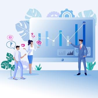 Cartel publicitario retroalimentación positiva crecimiento plano.