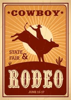 Cartel publicitario de rodeo en estilo retro con vaquero montando caballo salvaje
