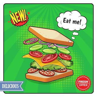 Cartel publicitario de sándwich en estilo cómico