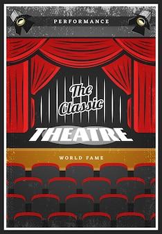 Cartel publicitario de teatro coloreado vintage