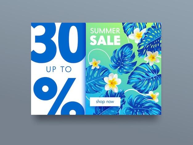 Cartel publicitario tropical de venta de verano con flores exóticas de plumeria y hojas de palmeras exóticas. banner promocional para descuento de verano, diseño de folletos promocionales, concepto de liquidación. ilustración vectorial de dibujos animados