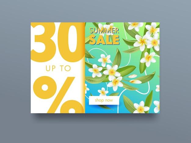 Cartel publicitario tropical de venta de verano con flores exóticas de plumeria y hojas verdes. diseño de flyer promocional, concepto de liquidación. banner promocional para oferta de descuento de verano. ilustración vectorial de dibujos animados