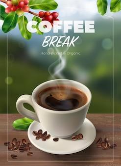 Cartel publicitario vertical de café realista.