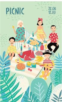 Cartel publicitario vertical sobre un tema de picnic.