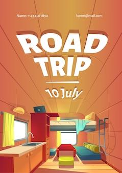 Cartel publicitario de viaje por carretera con interior de coche de remolque de camping