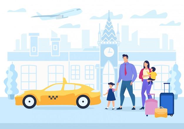 Cartel publicitario viajes familiares dibujos animados plana.