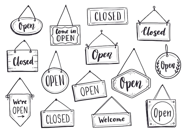 Cartel de puerta abierta dibujado a mano