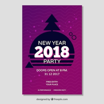 Cartel púrpura del año nuevo 2018