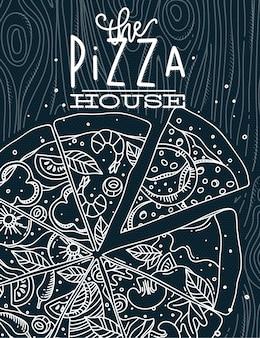 Cartel que pone letras al dibujo de la casa de la pizza con líneas grises