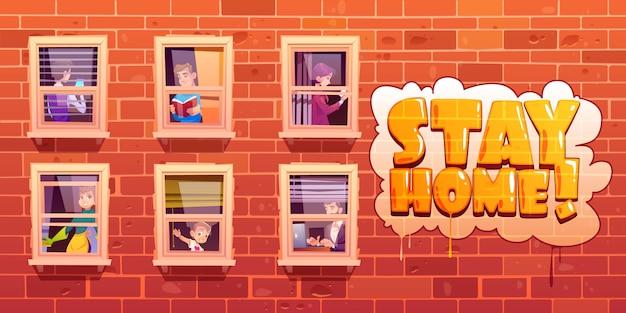 Cartel de quedarse en casa con personas en ventanas
