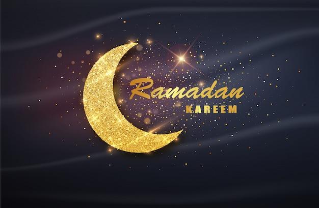 Cartel de ramadán kareem con media luna musulmana.
