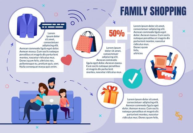 Cartel rápido compras familiares, compras en el sofá.