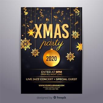 Cartel realista de año nuevo 2020 y navidad