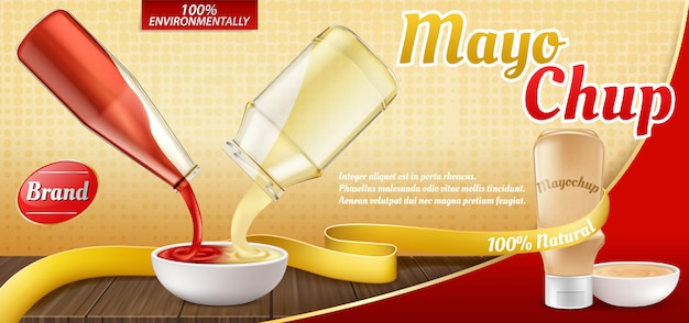 Cartel realista del anuncio 3d con la botella plástica con la salsa de mayochup y cocinar de él.