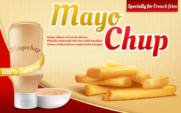 Cartel realista del anuncio 3d con la botella plástica con la salsa de mayochup. papas a la francesa y mezcla, mezcla
