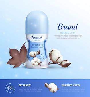 Cartel realista de botellas de desodorante de diferentes formas con publicidad de 48 horas de protección en seco y ternura de algodón realista