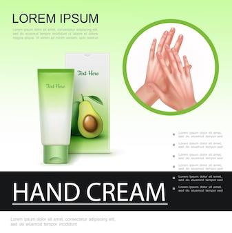Cartel realista para el cuidado de la piel con maqueta de tubo cosmético en crema y hermosas manos femeninas sanas