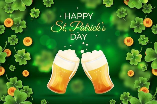 Cartel realista del día de san patricio con cerveza