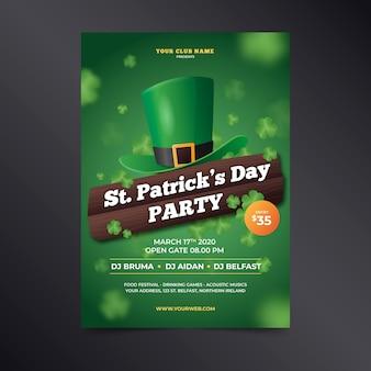Cartel realista del día de san patricio con sombrero verde duende