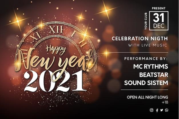 Cartel realista de evento nocturno de feliz año nuevo 2021 con textura dorada y bokeh