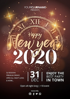 Cartel realista de fiesta de feliz año nuevo 2020