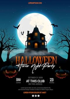 Cartel realista de fiesta de halloween