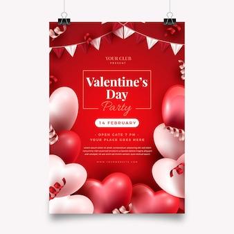 Cartel realista de fiesta de san valentín