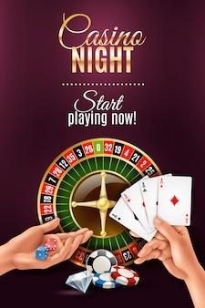 Cartel realista con juegos de mano de casino.