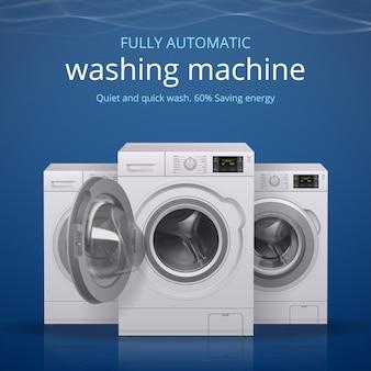 Cartel realista de lavadora con ilustración de símbolos de lavado rápido y silencioso