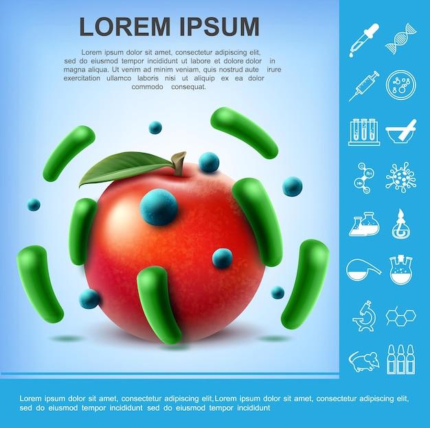 Cartel realista de manzana sucia con diferentes gérmenes y bacterias en frutas e ilustración de investigación de laboratorio