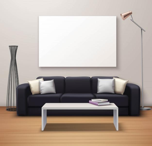 Cartel realista de la maqueta interior moderna