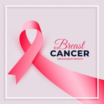 Cartel realista del mes de concientización sobre el cáncer de mama con cinta rosa