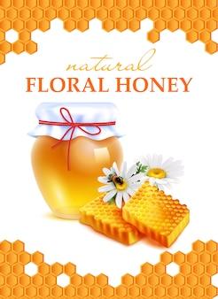 Cartel realista de miel floral natural