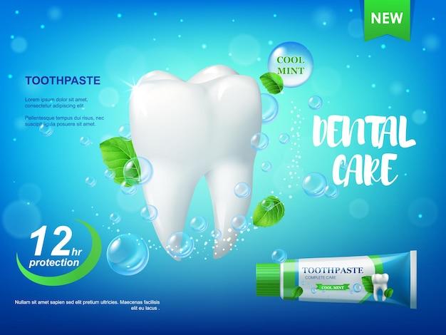 Cartel realista de pasta de dientes y dientes de menta fresca